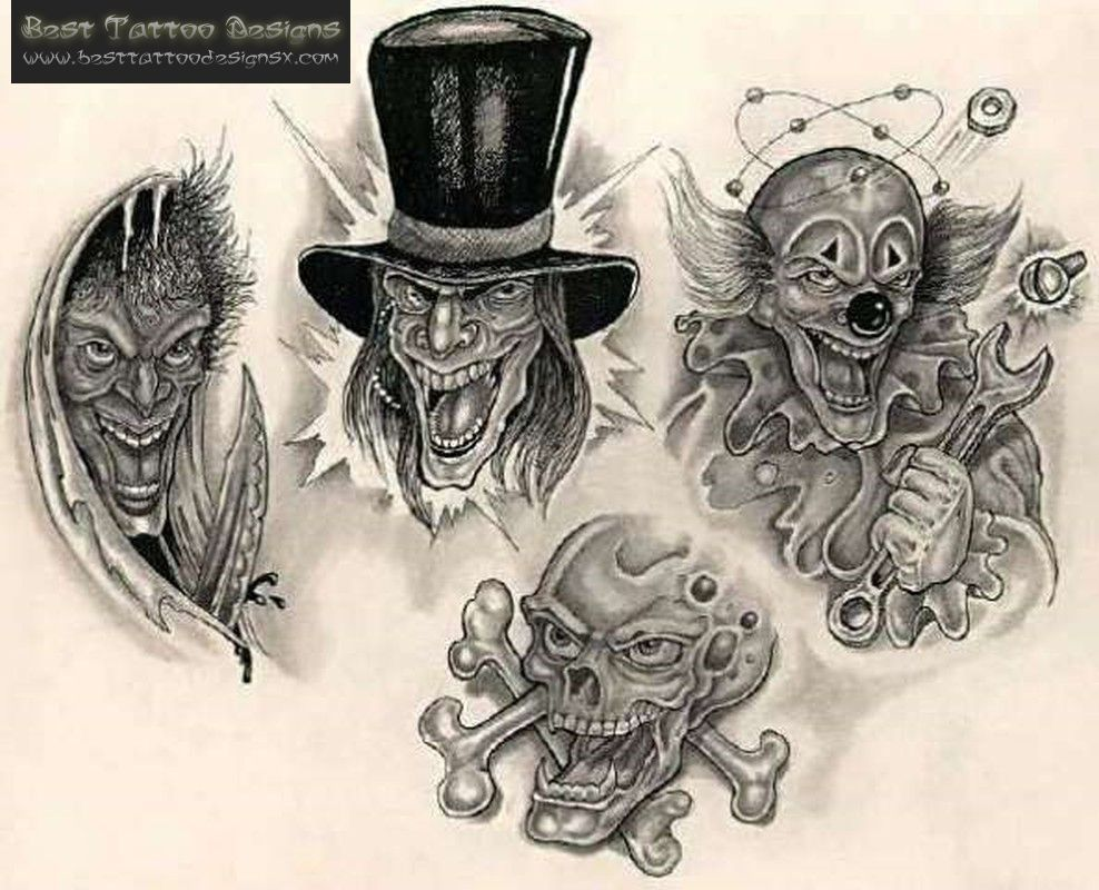 Gangster Clowns Tattoos: Gangster Clown Black White Tattoo Design