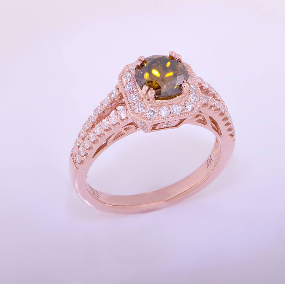 Rose Gold/ Strawberry Gold Ladies Ring 14k with diamonds 1.06ctw ...