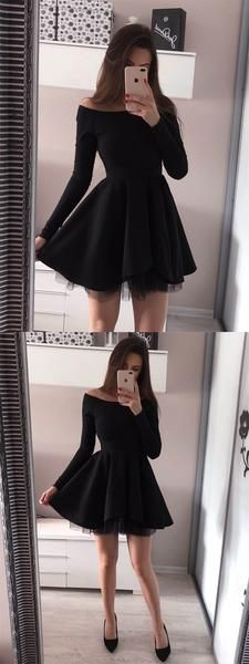 Off-the-Shoulder Long Sleeves Black Tulle Homecoming Dress,Short Prom Dresses,BDY0344