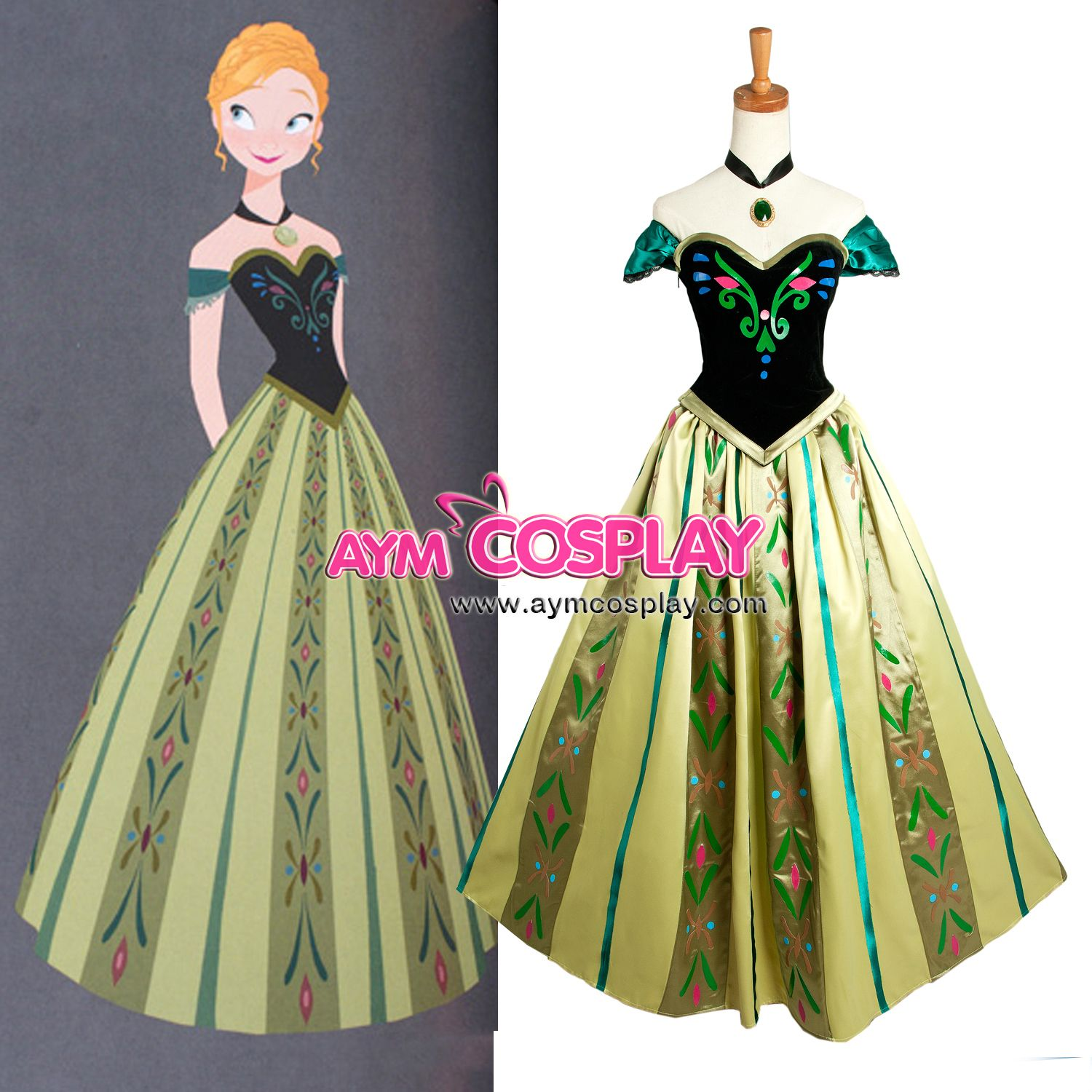 The dress from frozen - Disney Movie Frozen Anna Coronation Dress Costume Cosplay Tailor Made G1240