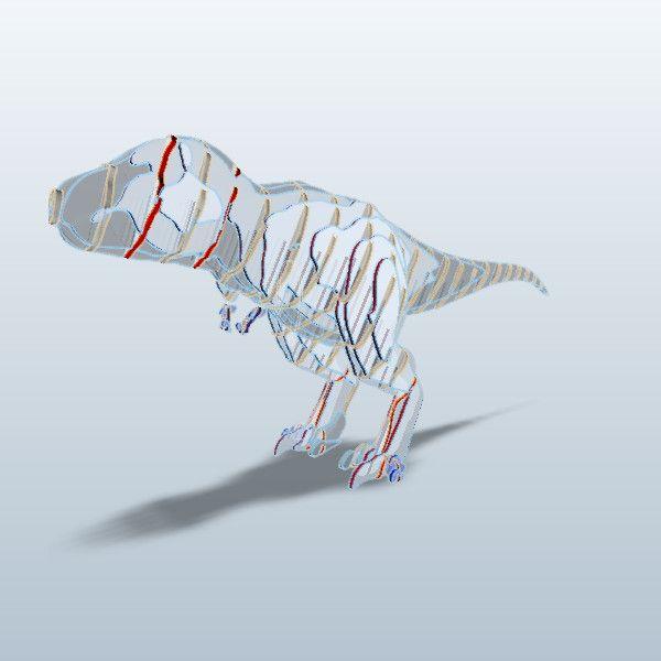 T-Rex, curve interlock (try 1) (123D Make)