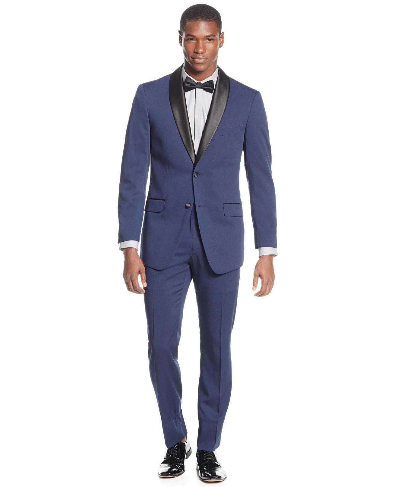 Perry Ellis Portfolio Slim-Fit Solid Navy Tuxedo | Slim fit tuxedo ...