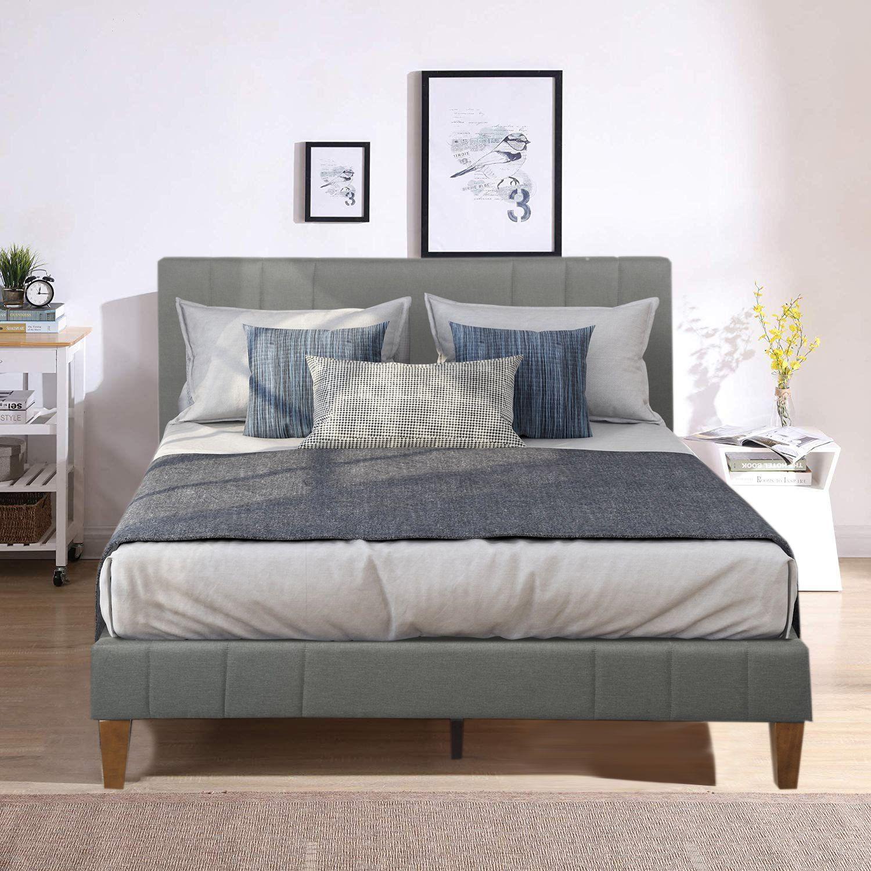 Clearance! Upholstered Platform Bed Frame, Wooden Bed