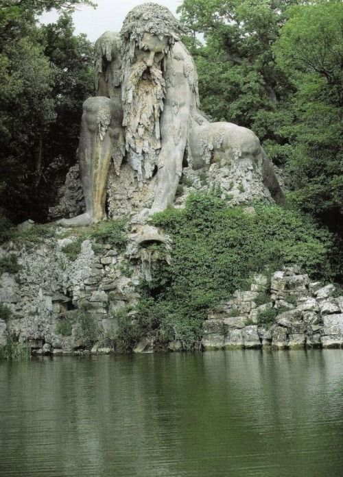 "fortswinwars:  ""Shrouded within the park of Villa Demidoff (just north of Florence, Italy), there sits a gigantic 16th century sculpture known as Colosso dell'Appennino, or the Appennine Colossus. The brooding structure was first erected in 1580 by Italian sculptor Giambologna. Like a guardian of the pond in front of him, the giant is in an endless watchful pose, perched atop his earthy seat."""