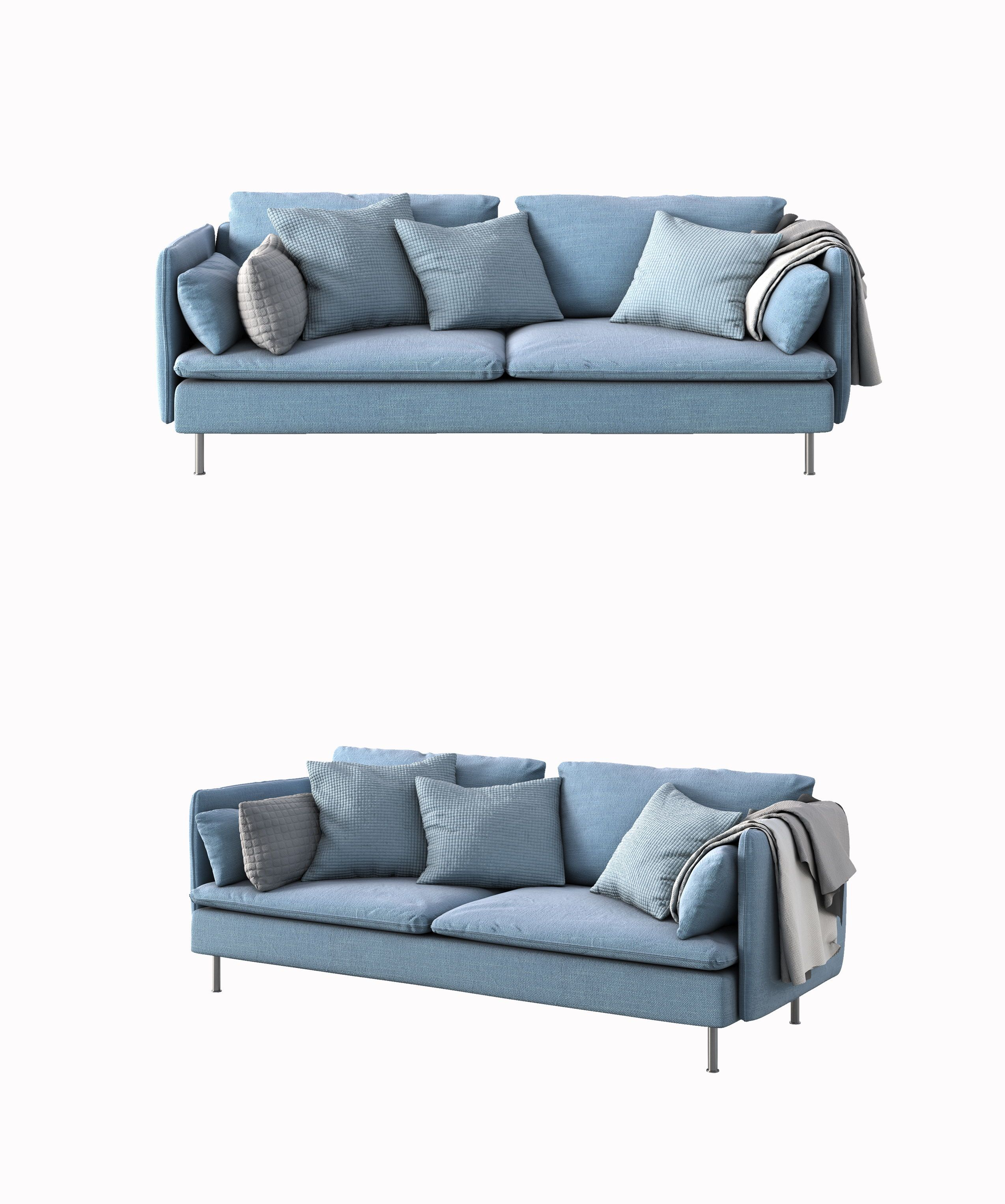 Modern Style Sofa Blue Conventional Select Advanced Fabric Art