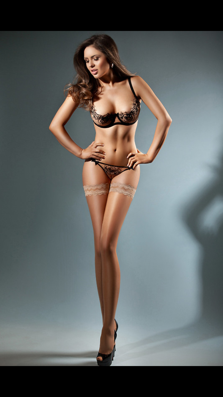 Beautiful long legs lingerie stockings firmly