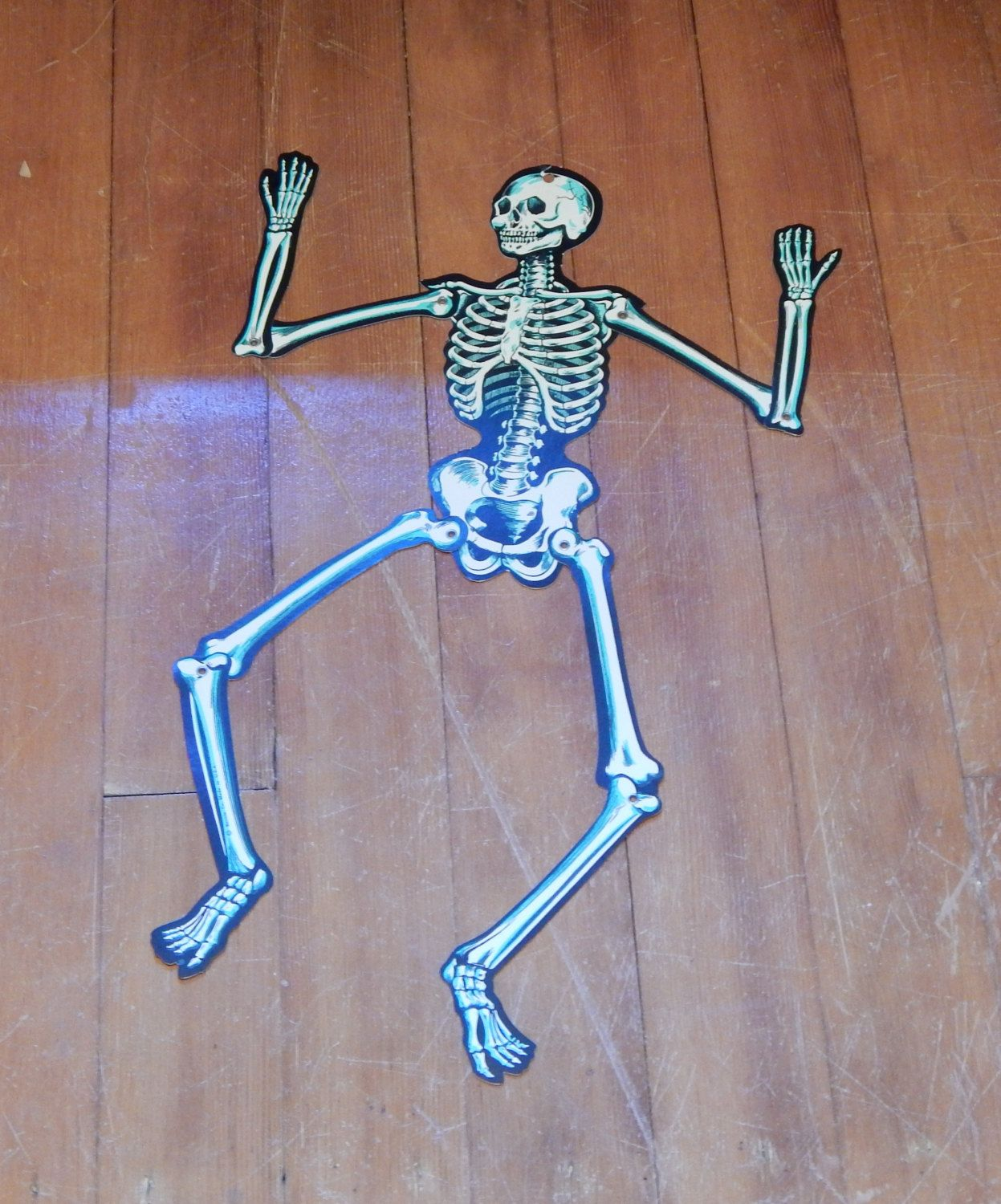 Vintage Halloween Skeleton Beistle Made In USA Spooky Jointed Decoration 50s 60s Paper Ephemera Party Decor
