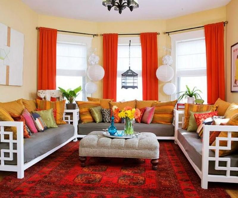 15 Lively And Colorful Curtain Ideas For The Living Room Endearing Orange Curtains For Living Room Review