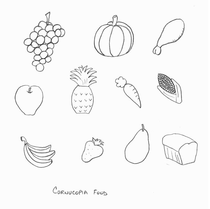 Thanksgiving Crafts - Print your Cornucopia Food Template ...