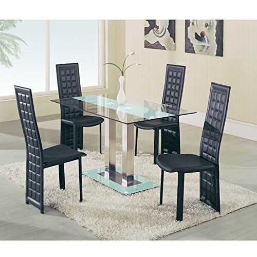 Dual Pillar Base Dining Table By Global Furniture Glass Dining