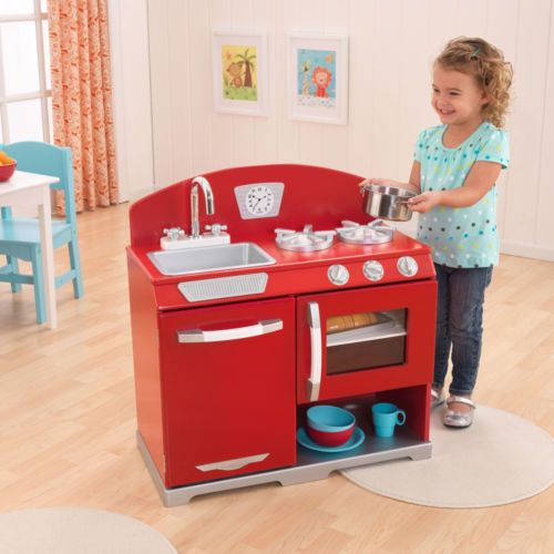 Kidkraft Red Retro Kitchen Stove Oven Kids Wooden Play Set 53205a