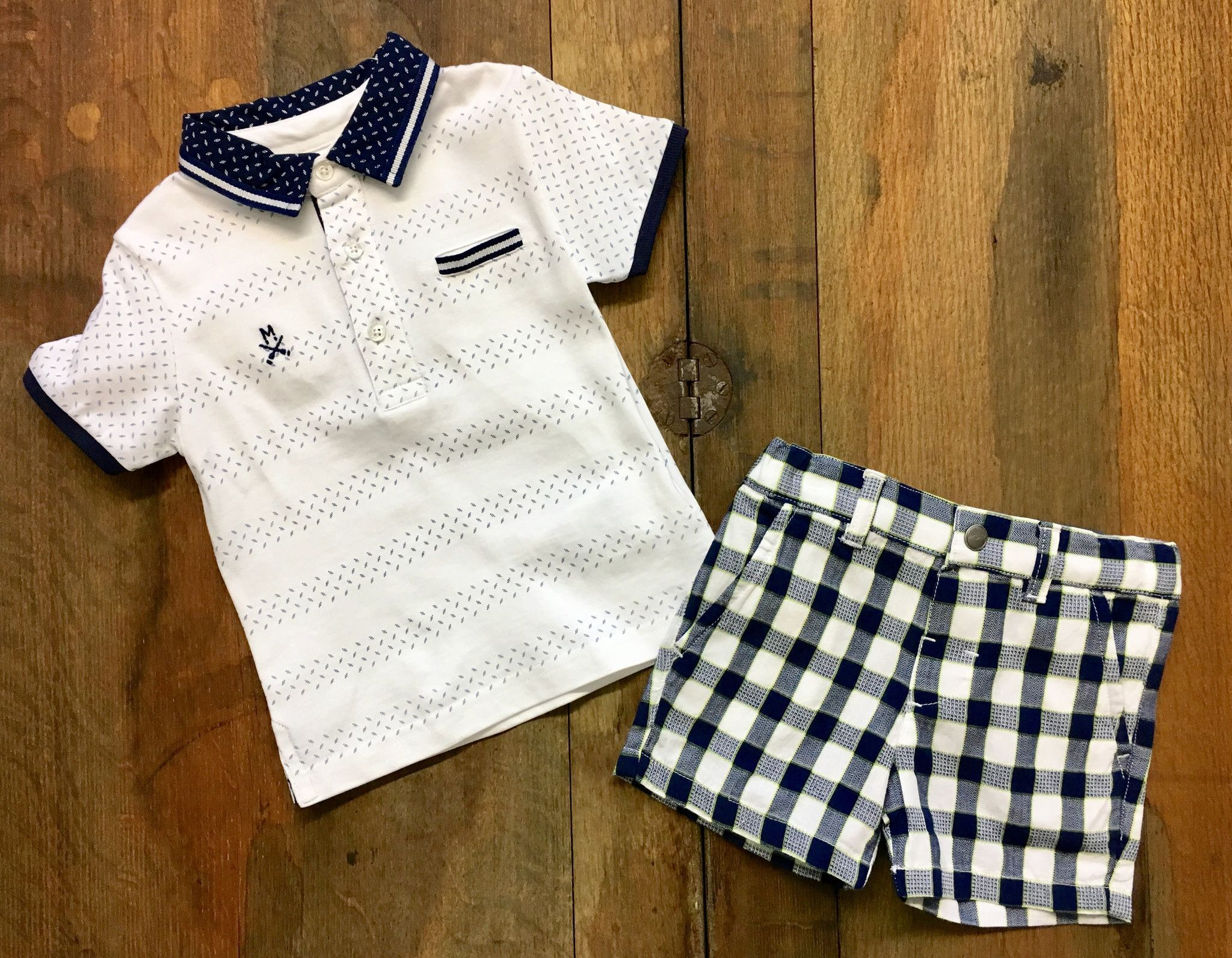 Mayoral Infant Boy Knit Polo in White and Navy