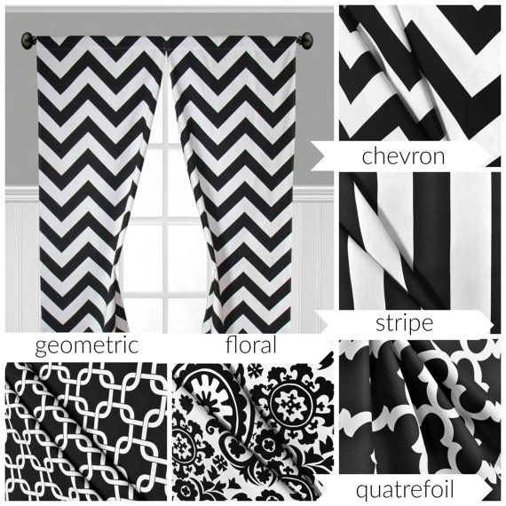 black and white curtains stripe quatrefoil modern geometric curtain panels window treatments. Black Bedroom Furniture Sets. Home Design Ideas