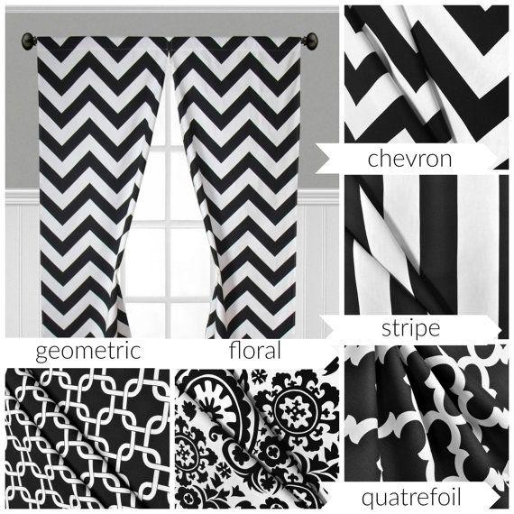 Black And White Curtains Stripe Quatrefoil Modern