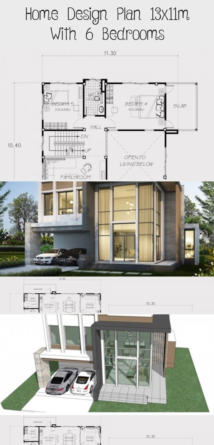 Home Design Plan 13x11m With 6 Bedrooms Home Design With Plansearch Modernhousedesignasian Modernhousedes In 2020 Home Design Plan House Design Modern House Design