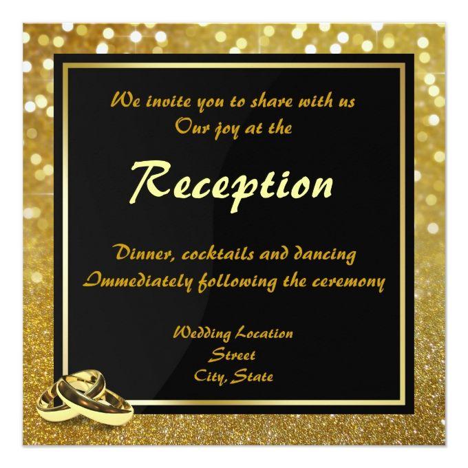Elegant Glitter Wedding Rings - Wedding Reception 5.25x5.25 Square Paper Invitation Card