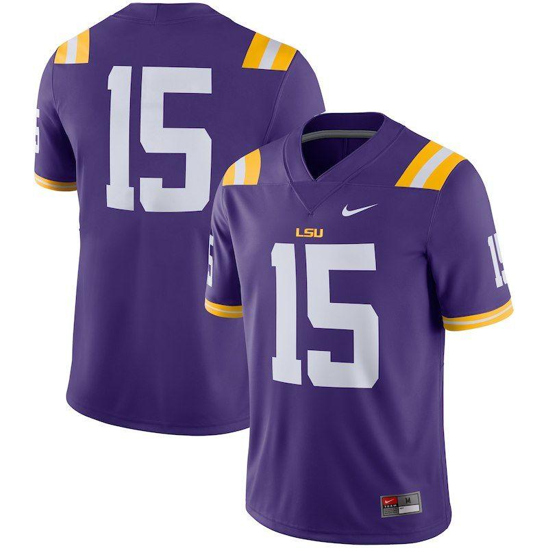 Lsu tigers nike 2018 game football jersey purple lsu