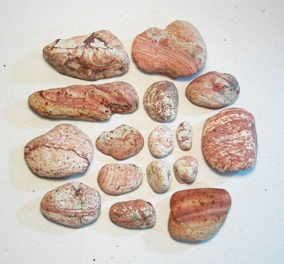 16 Red Beach Stones, Iron Rust Striped Stones, Rustic Decor Garden Rocks
