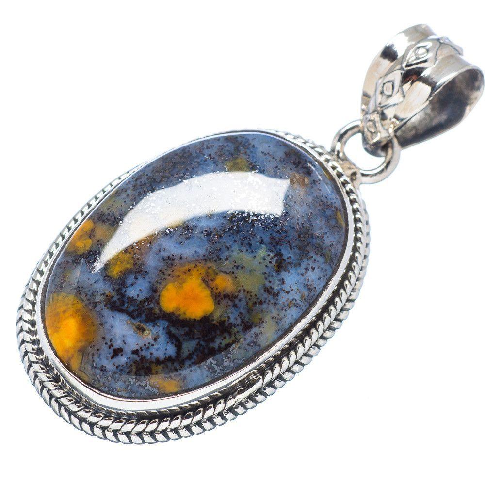"Rare Ocean Jasper 925 Sterling Silver Pendant 1 1/2"" PD502858"
