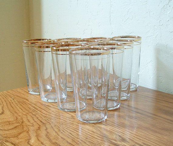Gold Rim Gles Set Of 10 Tumblers