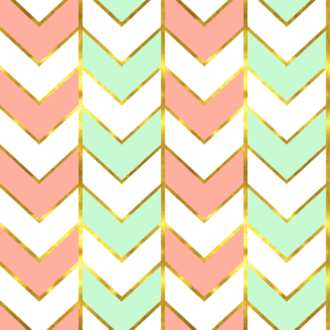 Colorful Fabrics Digitally Printed By Spoonflower Gilded Herringbone In Shades Of Mint And Light Coral Mint Green Wallpaper Iphone Rose Gold Fabric Coral Mint Gold