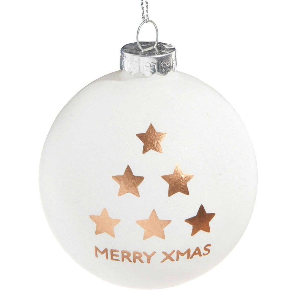 Boule de Noël blanc satiné en verre 8 cm STARS | Maisons du Monde ...