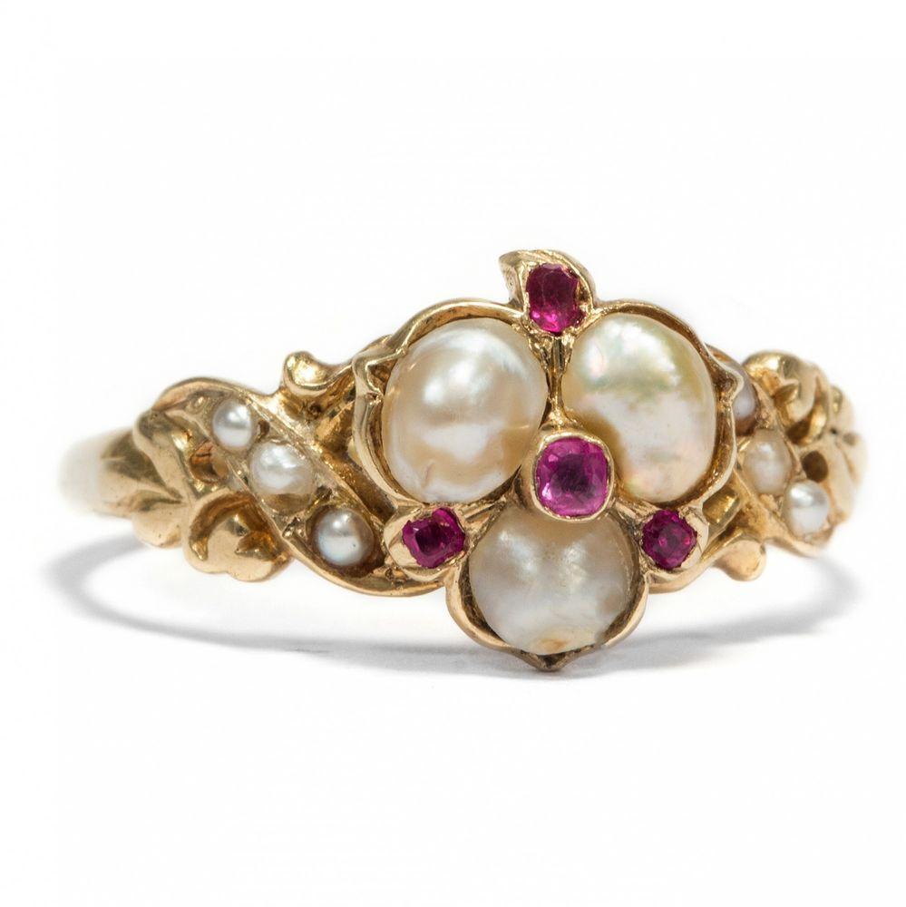 Victorian Um 1845 Antiker Ring Perlen Rubin In Gold