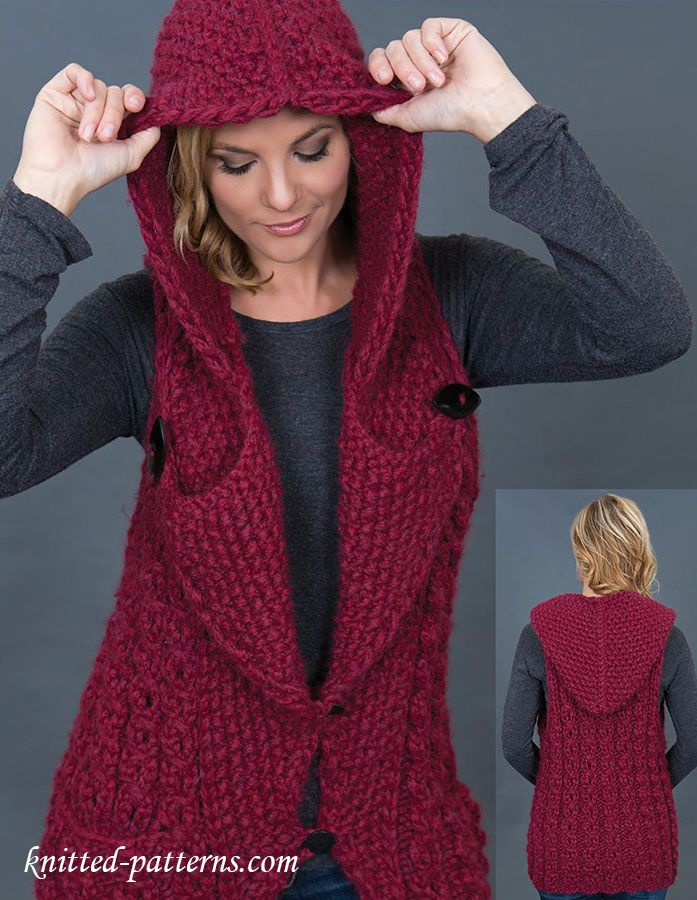 Hooded vest knitting pattern | Calceta | Chaleques | Pinterest ...