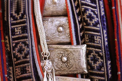 Vietnam | Detail from the silver jewellery worn by the Red Dao.  Sa Pa | ©Jill Gocher