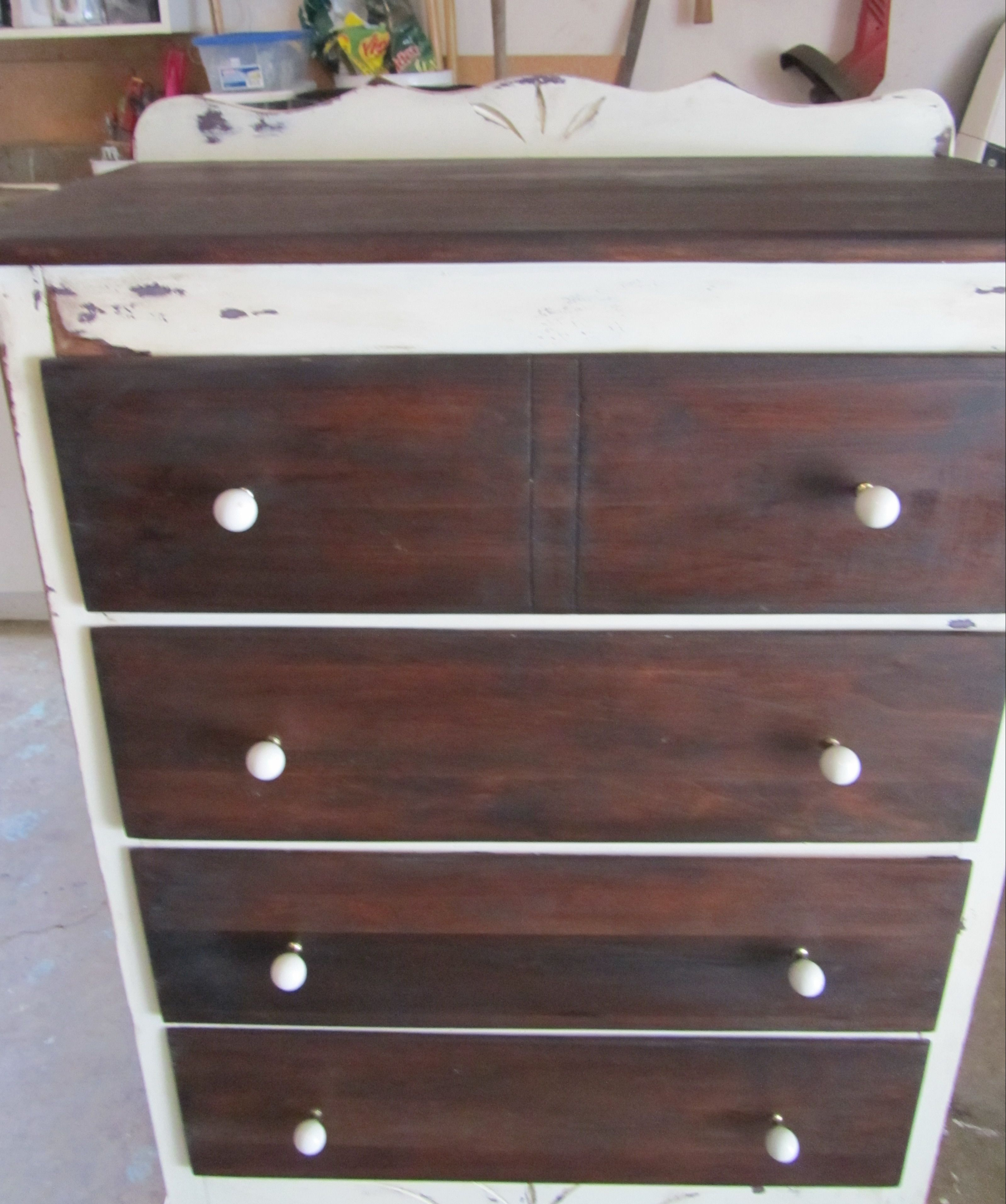 Tallboy aftertop and drawers stripped to natural wood and