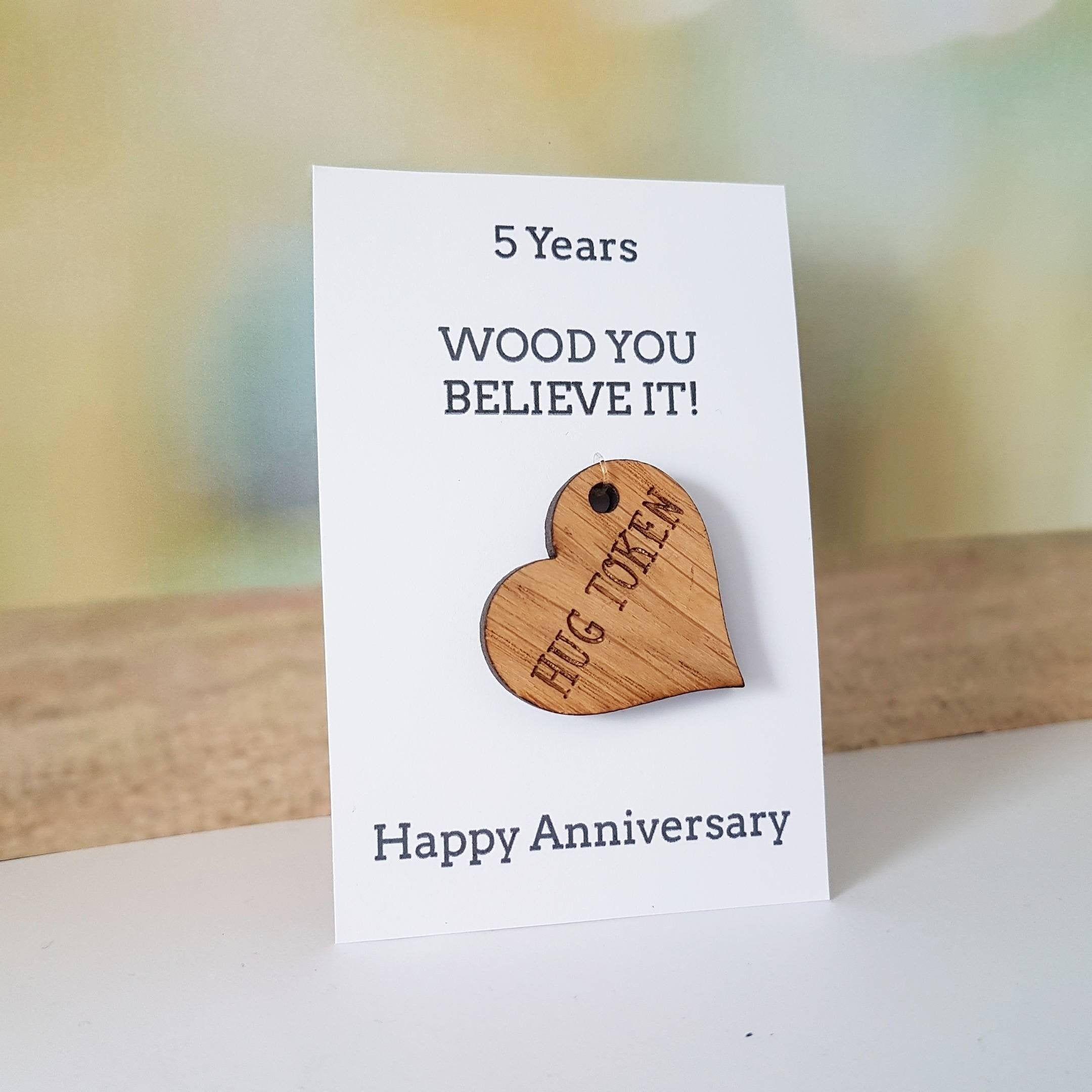 5th anniversary card husbandgift wife card wood wooden