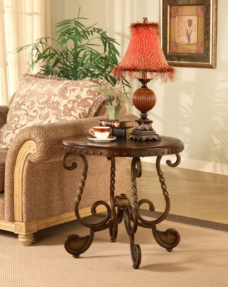 Antique brass and wood nailhead inlay end table my style - Antique side tables for living room ...