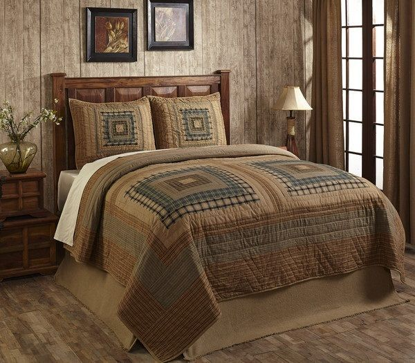 Neutral Log Cabin Quilt Sets King Set Natural Earthy Tan Gray Brown Green Lodge style quilts, earthones