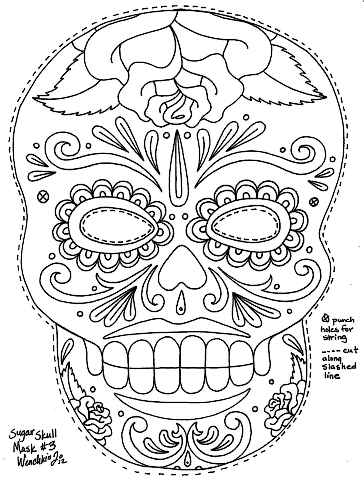 yucca flats, n.m.: wenchkin's coloring pages - sugar skull mask ... - Coloring Pages Roses Skulls