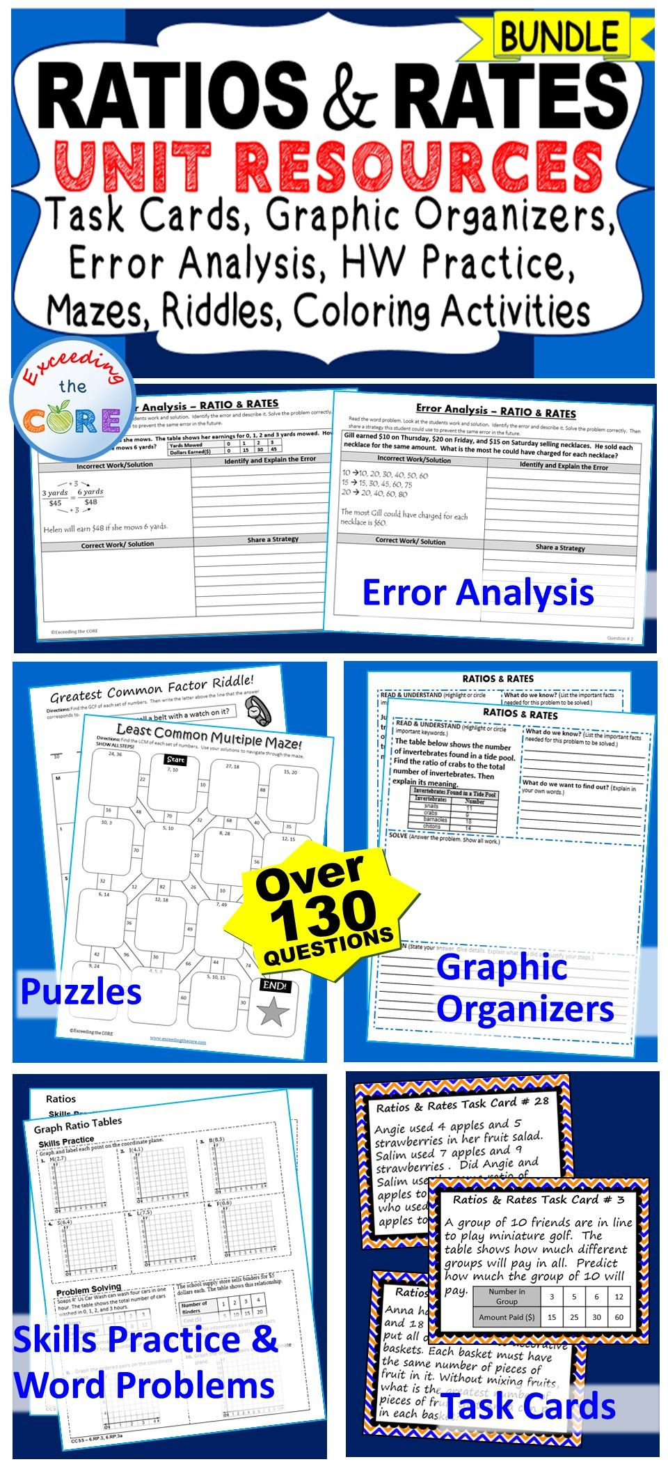 Ratios Rates Bundle Task Cards Error Analysis Problem Solving Hw Notes Elementary School Math Word Problems Middle School Math