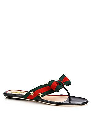 d3301b62c271 Gucci Aline Grosgrain Web Thong Sandals