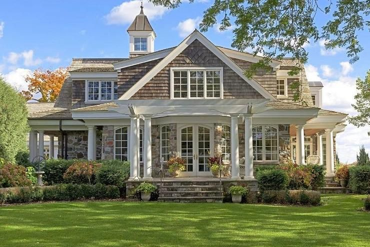Covered Wrap Around Porch Stone Lots Of Big Windows French Doors Feels Light Stone House Plans Stone Front House House Exterior