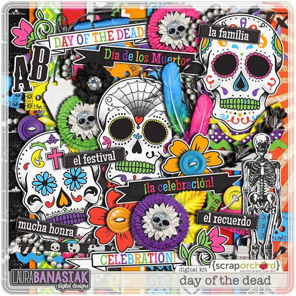 Day of The Dead Scrapbook Page Kit