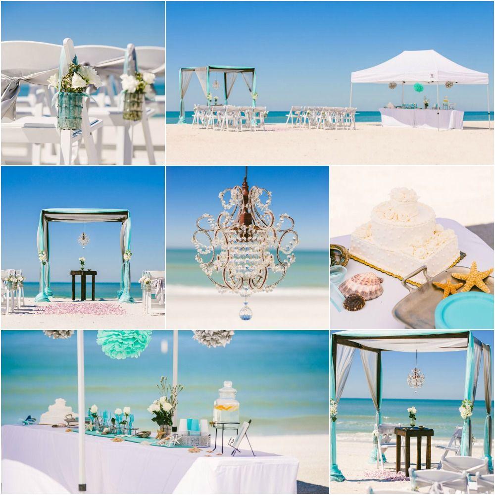 Tiffany Blue Wooden Arbor And Mini Tent Beach Reception Sun Sea Weddings