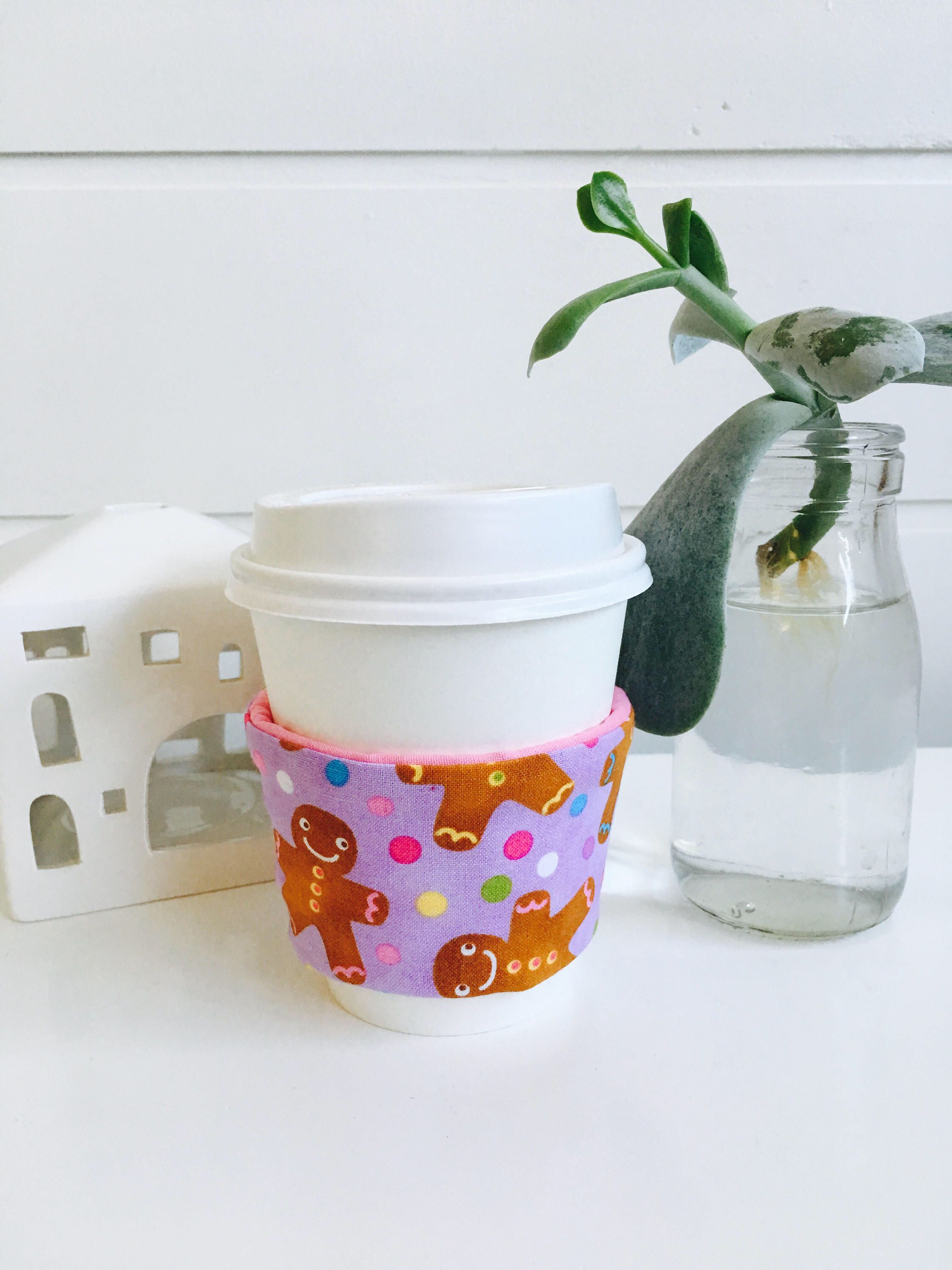 Christmas Coffee cup cozy, beverage insulator sleeve for