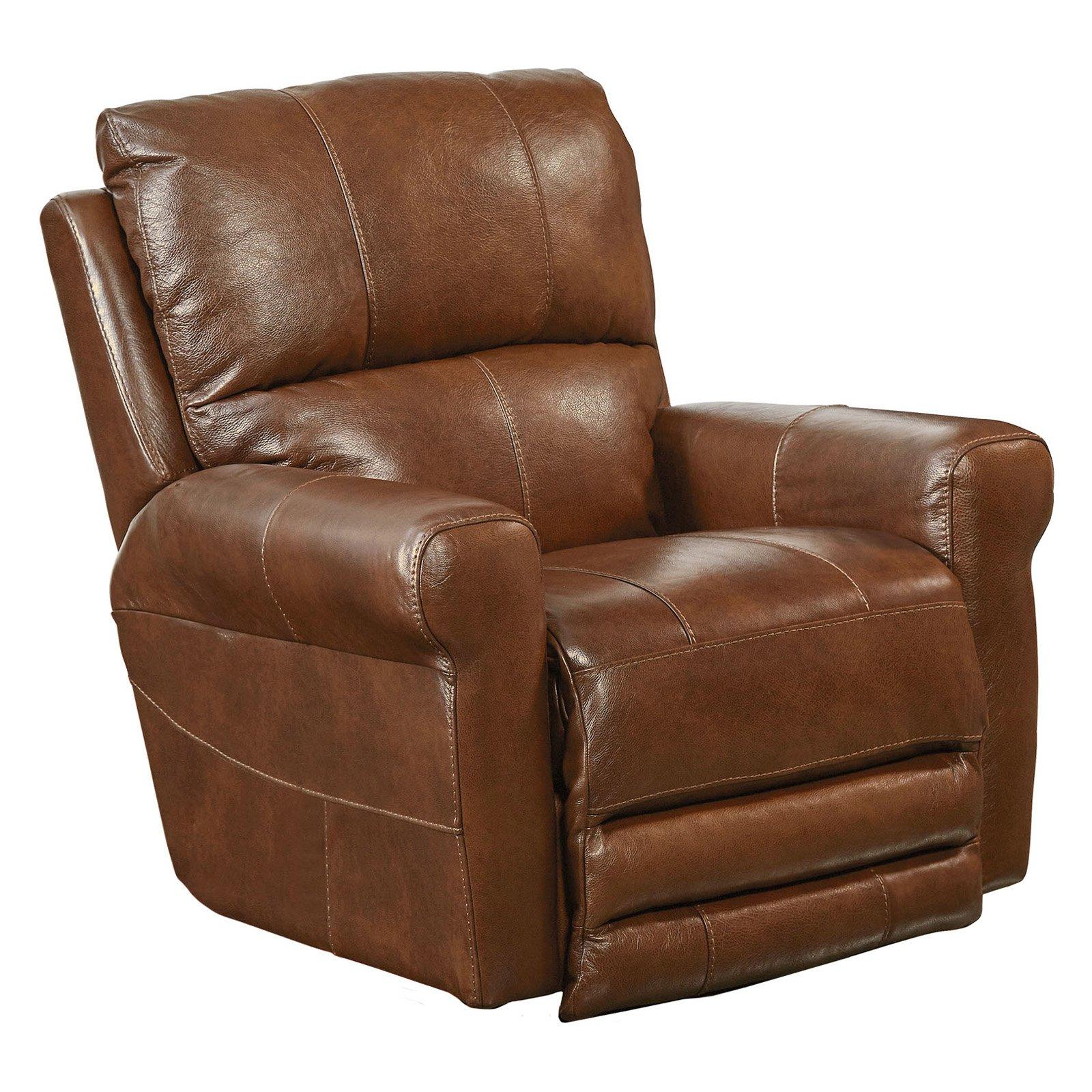 Pleasant Catnapper Hoffner Leather Power Lay Flat Recliner Chestnut Dailytribune Chair Design For Home Dailytribuneorg