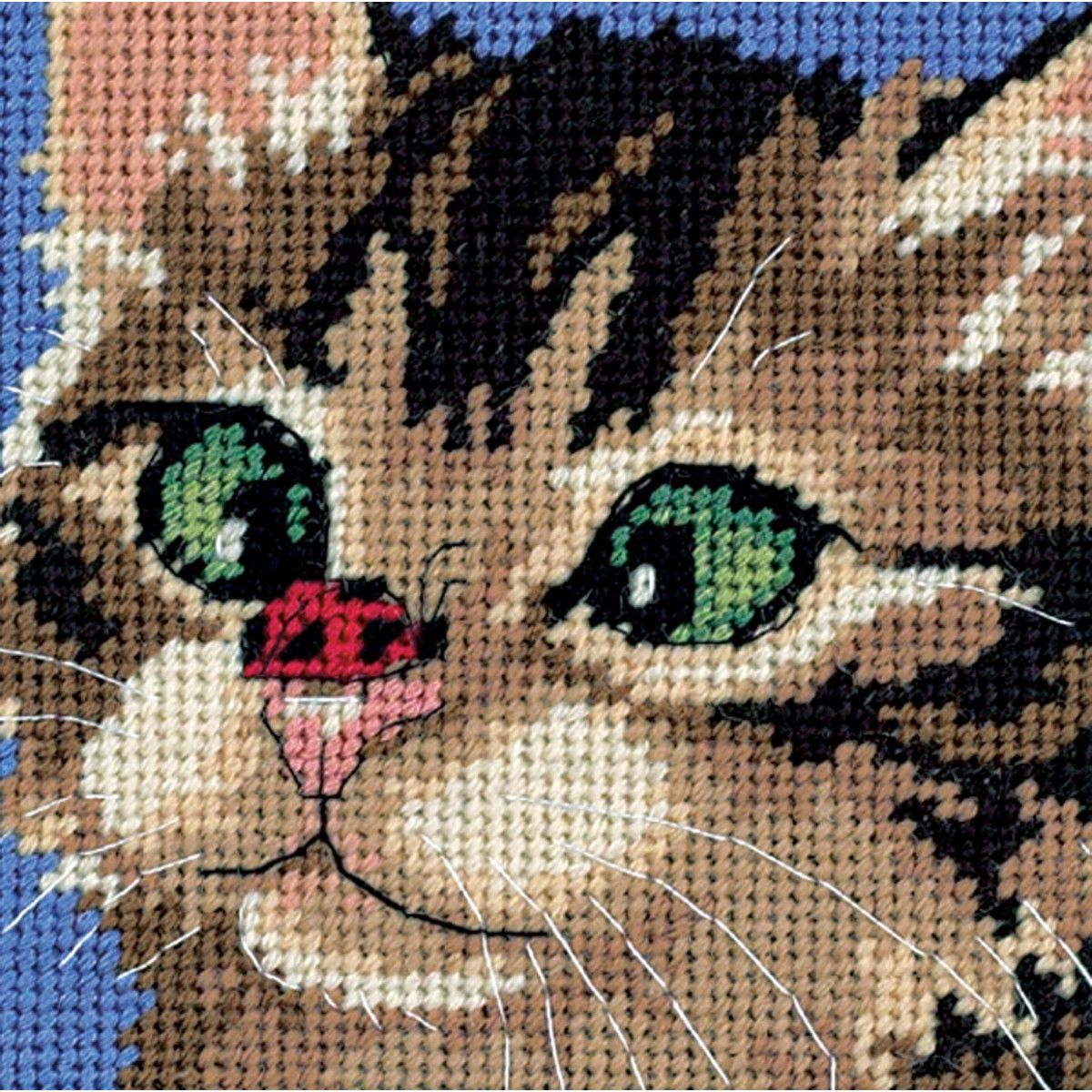 "Cross-Eyed Kitty Mini Needlepoint Kit-5""""X5"""" Stitched In Yarn & Thread"