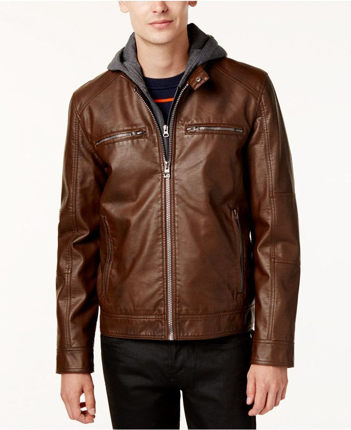 Uaneo Mens Winter Hooded Faux Leather Lined Bomber Jacket