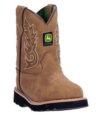 John Deere Little Boys Girls Tan Stitch Detail Pull-On Boots 4 Toddler