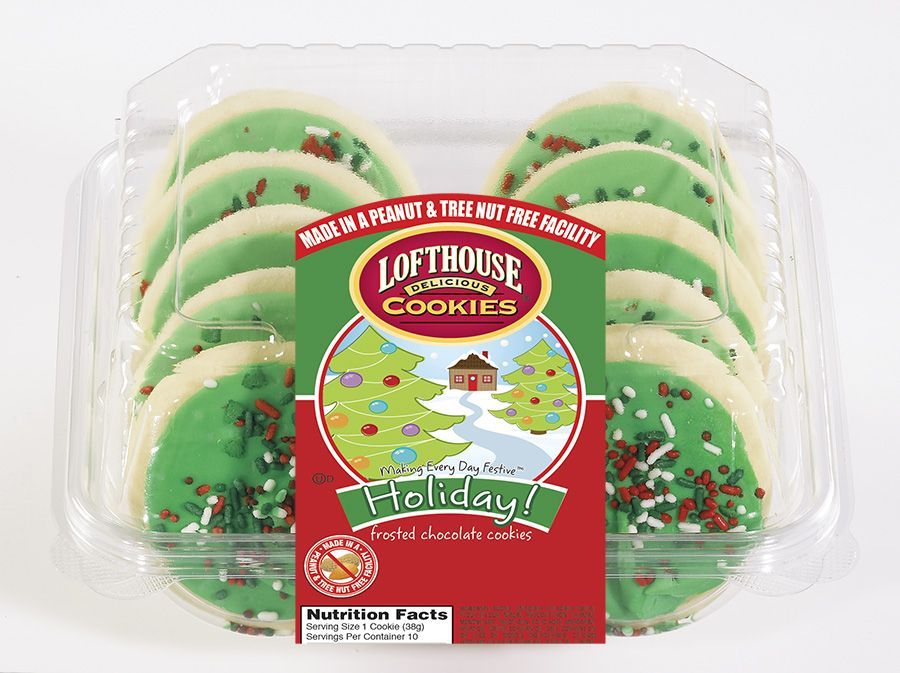 Holiday Frosted Sugar Cookies Made in a Peanut and Tree