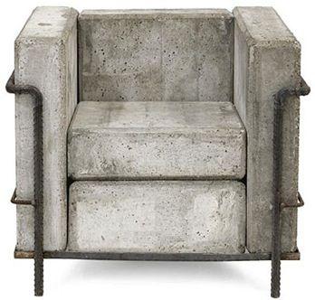 Le Corbusier-inspired indoor-outdoor #concrete chair by Stefan Zwicky | stoel van #beton