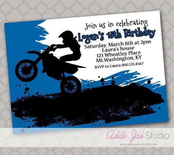 Blue Motocross Birthday Printable 5x7 4x6 Or By AddiJaiStudio
