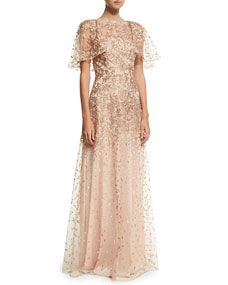 6ecb307ffc0 David Meister Wing-Sleeve Embroidered Lace Gown