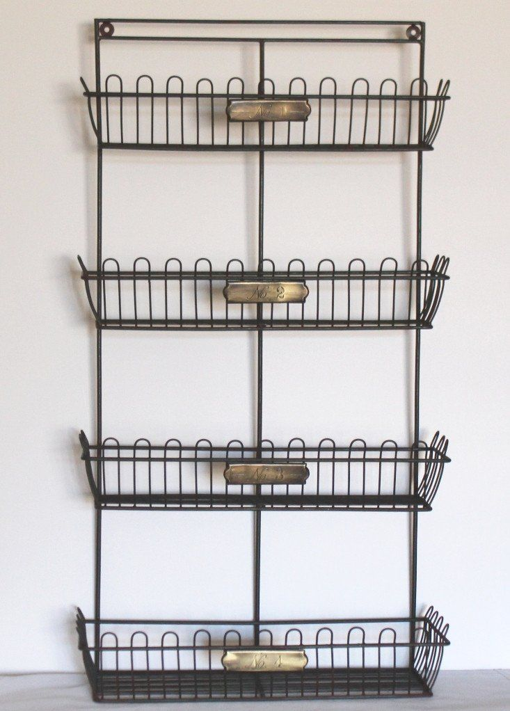 Rustic French 1, 2, 3, 4 Brass Tags Wire Bin Wall Organizer Rack ...