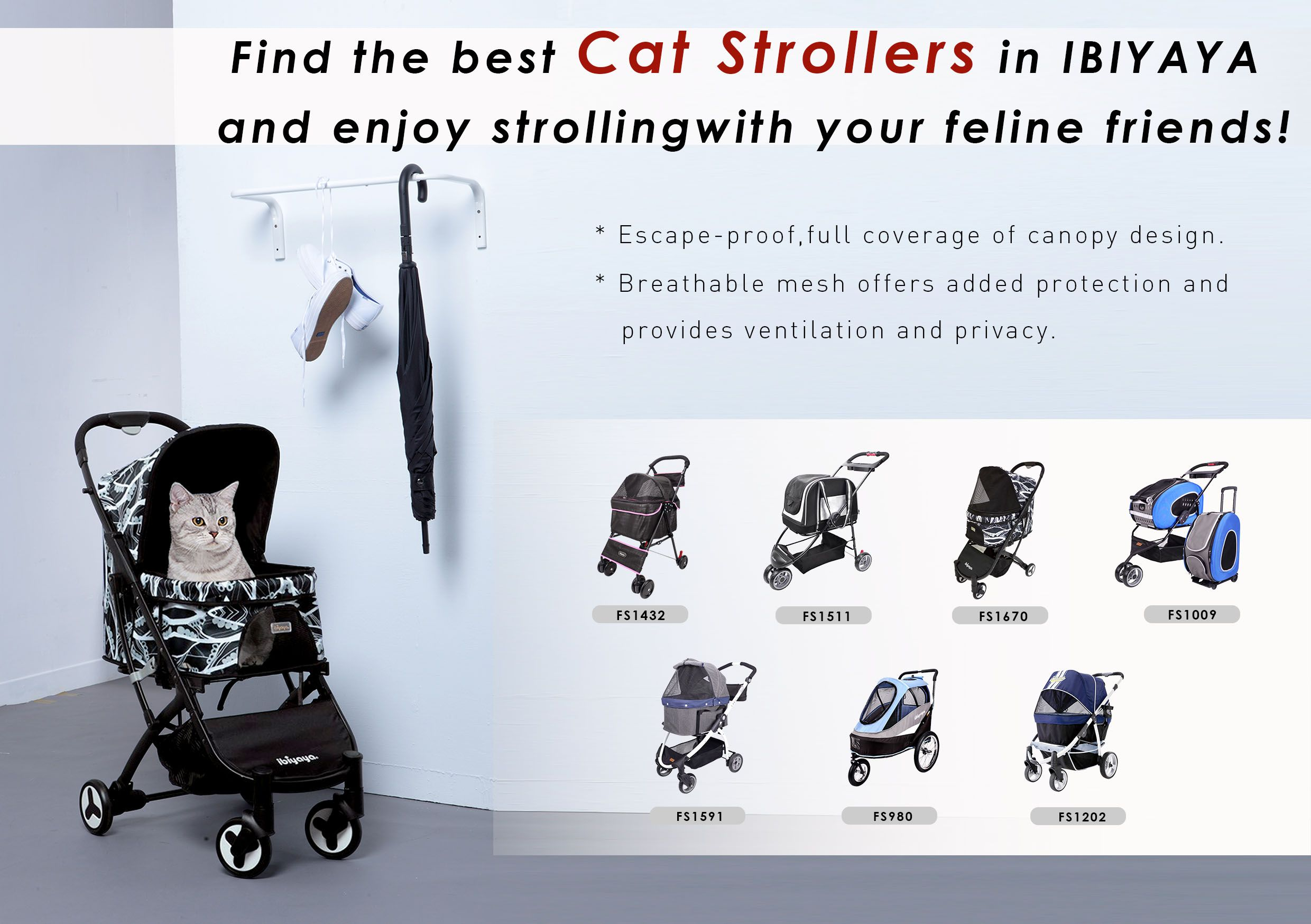 Find the best Cat Strollers in IBIYAYA and enjoy strolling with your feline friends! 🚘🚲🚗☀️ #petstroller #ibiyaya #catstroller #petbuggy #furbaby #feline #kittens #strolling